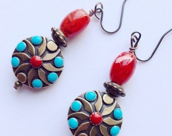 Turquoise And Red Earrings