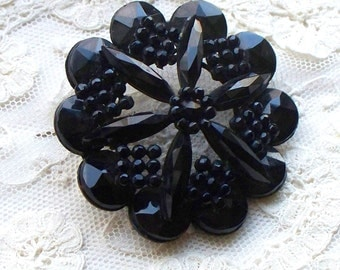 Jet Mourning Brooch - Whitby, Pin, Victorian, Edwardian, Downton,