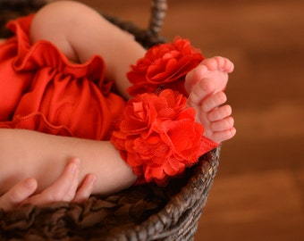 Barefoot Baby Sandals Toe Blooms with Christmas Red Boutique Flowers Free Shipping On All Additional Items