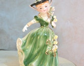 SALE! Vintage Little Girl with Yellow Roses and Green Dress Figurine Statuette