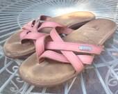 Pink leather BASS SUNJUNS strappy, flip flop, thong, sandal, hippy, boho, shoe Size 6