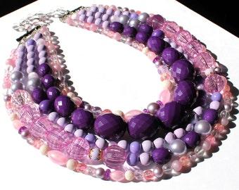 Purple Pink Redesigned Vintage Karu Arke Handmade Statement Necklace