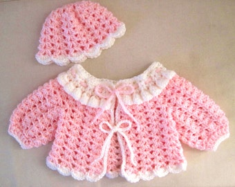Crocheted  Pink and White Baby Sweater and Hat - Newborn to 3 months
