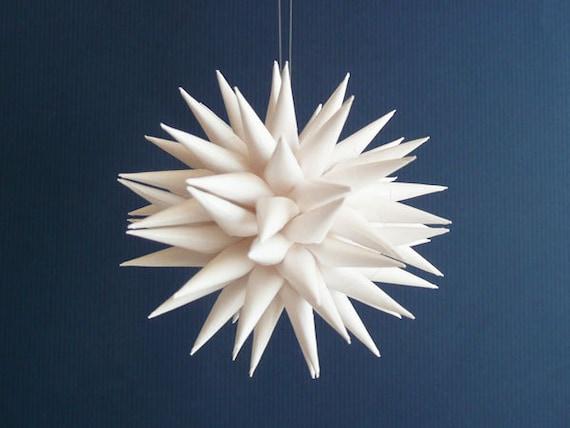 White Paper Star Ornament, Handmade Home Decor, Urchin, Modern Polish Folk Art by Kissa Design - Fine White, 3 inch