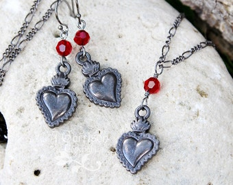 Black Sacred Heart Milagro necklace & earring set - gunmetal gothic heart, Ruby Red Swarovski crystal - black chain - free shipping USA