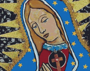 Modern cross stitch kit by Heather Galler 'Virgin of Guadalupe' - Counted Needlecraft pattern with DMC Materials