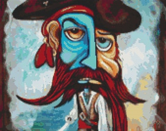 Modern Cross Stitch Kit 'Pirate' By Laura Barbosa -  NeedleCraft Kit