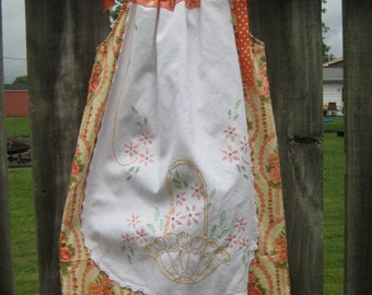 Peaches and Cream Pillowcase Dress with Vintage Linen