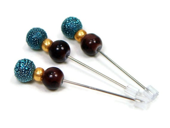 RESERVED for JOEY Counting Pins, Marking Pins, Cross Stitch, Needlepoint, Teal Blue, Cocoa Brown