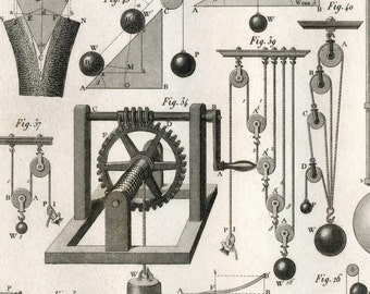 1851 Antique Steel Engraving of Pulleys, Pendulums, and Other Physics Paraphernalia. Plate 16