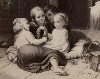 1860s - 1870s Antique CDV Photograph. Infant's Coronet