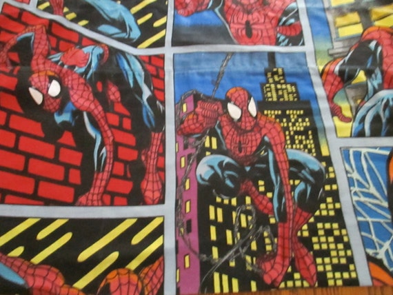 Spiderman Valance Brightly Colored Craft Fabric / Reclaimed Linens