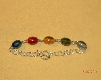 Elemental Glass Bead and Chainmaille Bracelet
