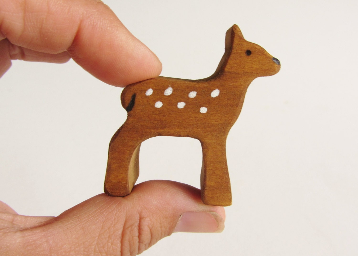 Wooden animals ornaments - Wooden Fawn Figure Waldorf Wood Deer Toy