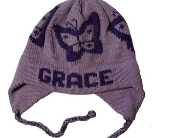 Personalized Earflap Hat - Butterfly