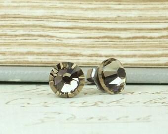 Crystal Earrings Rhinestone Studs Crystal Stud Earrings Gray Brown Earrings Hypoallergenic Surgical Steel Posts