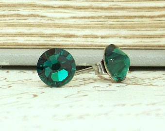 Green Crystal Studs Emerald Green Studs May Birthstone Green Stud Earrings Hypoallergenic Crystal Stud Earrings