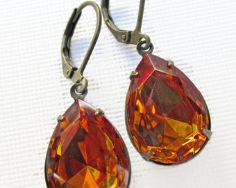 Topaz Earrings Autumn Jewelry Bridesmaid Gift Estate Style CAMBRIDGE Golden Topaz