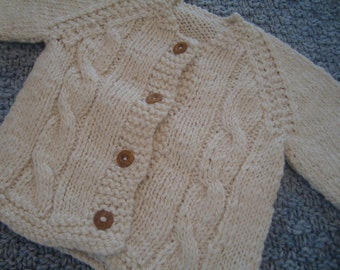 Hand knit baby organic cotton cable jersey 0-3m, 3-6m, 6-12m