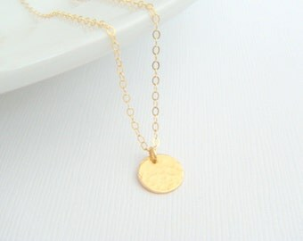 tiny gold necklace. small hammered circle disc. 14k gold filled. 14 k simple everyday jewelry. dainty delicate pendant gift for her 3/8""