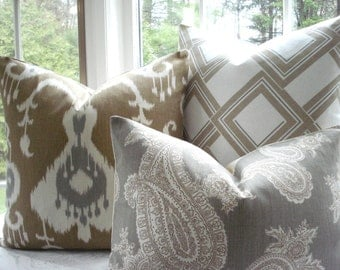 CHOOSE YOUR DESIGN-BothSides-- Ikat - Paisley- Geometric  PillowCover--Designer Fabric-Throw /Lumbar  Pillow