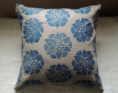 Ultramarine Blue Water Lily hand Printed floral on natural undyed linen pillow cover your choice of sizes