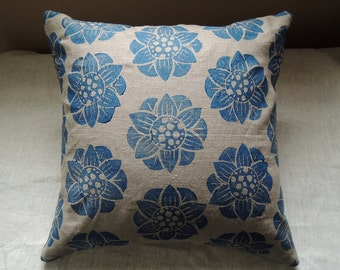 Ultramarine Blue Water Lily modern natural linen decorative pillow cover home decor hand block printed floral botanical on natural