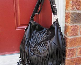 Leather fringe purse Bohemian messenger and backpack large bucket bag - Dark brown