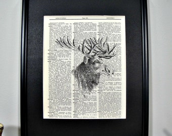 FRAMED Vintage Dictionary Print - Woodland Series - Moose