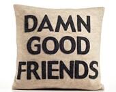 DAMN GOOD FRIENDS - recycled felt applique pillow 16 inch