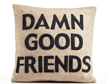 "Throw Pillow, Decorative Pillow, ""Damn Good Friends"" pillow, 16 inch"