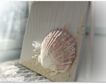 Nautical Sand Art Plaque - 3D Beach Art - Scallop Shell