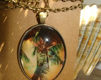 Vintage, Summer , Beach, Sunset,  Palm Tree , Oval , Necklace