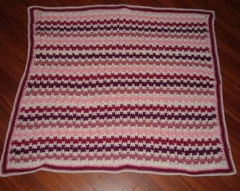White,Pink and Burgundy Crocheted Baby Blanket