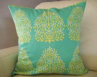 Decorative Pillow Cover 18 x 18  Amy Butler Henna Trees Green & Yellow