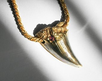 ON SALE- Brass/Black Gold and Pink Jeweled Sea Dragon Tooth Necklace