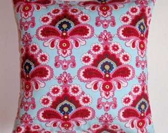 SUMMER SALE - Throw Pillow Cover, Pretty Pink & Blue French Damask Accent Pillow Cover, Handmade Decorative French Wallpaper Cushion Cover