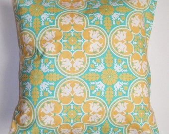 """Throw Pillow Cover, Toss Pillow, Accent Pillow, Cushion Cover, Green & Yellow Decorative Pillow Cover, Joel Dewberry Fabric, 14x14"""" Square"""
