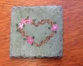 Slate coaster - heart, hand painted - Vermont slate - gift
