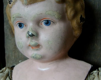 Antique German Rare Metal and Cloth Doll