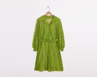Sheer Lace Dress Mini Dress Shirt Dress Shift Dress Green Dress 60s Dress Mod Dress Mad Men Dress 70s Dress Hippie Dress M Medium L Large