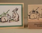 SPRING BUNNIES  - wood mounted rubber stamp (MCRS 20-08)