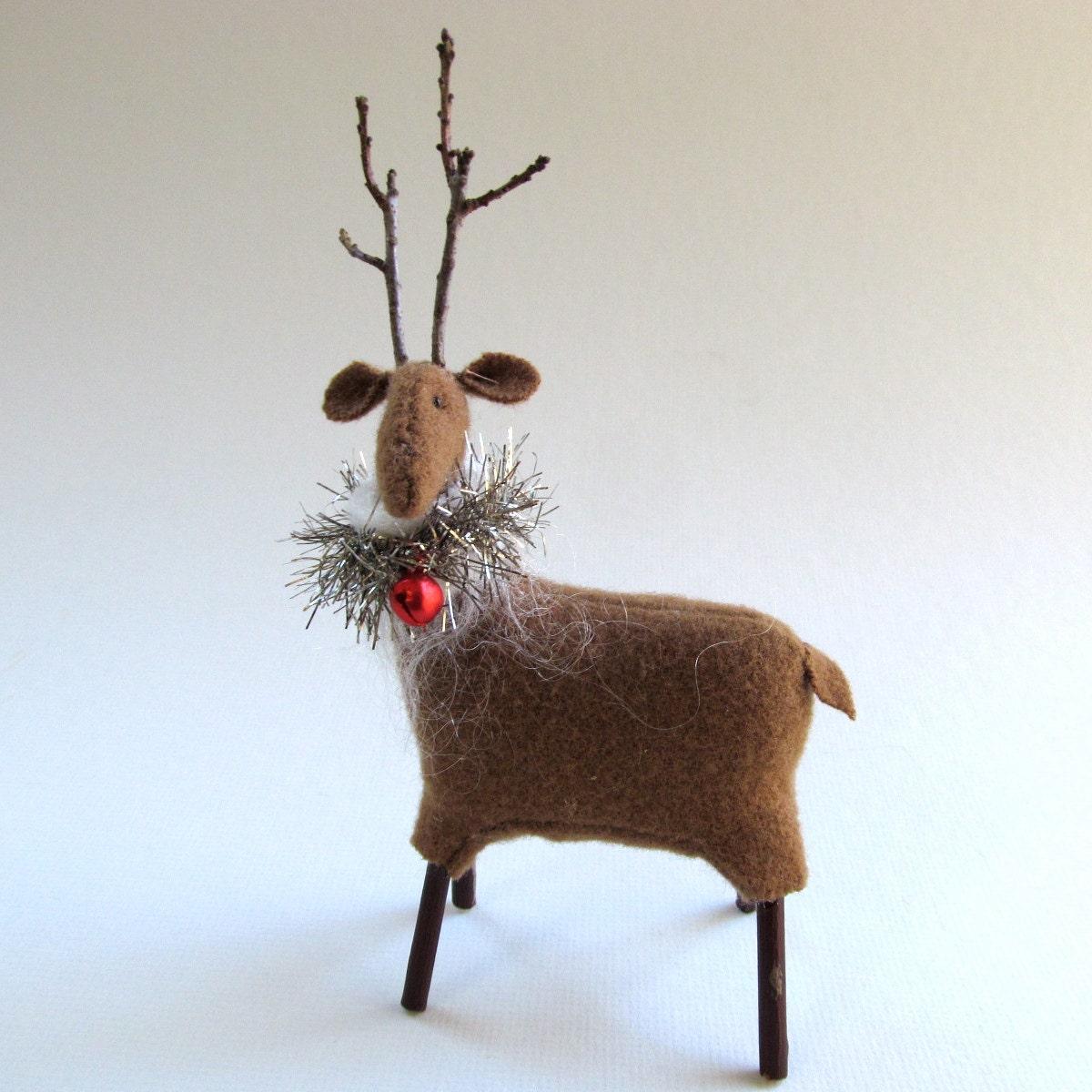 Handmade wool reindeer hand sewn wool reindeer holiday for Reindeer decorations