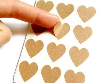 Set of 24 - 3/4 inch - KRAFT - Small Heart Stickers - Gift Wrapping, Party Invitations, Embellishment, Envelope Seals, Wedding Invitations