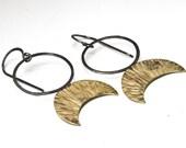 Handmade Brass and Blackened Silver  Moon Goddess Earrings