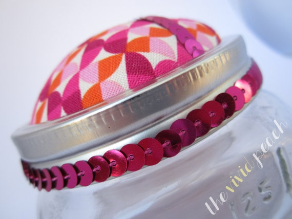 Pink Kaleidoscope Storage Jar. Pincushion.