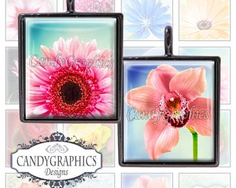 Pretty Flowers - Digital Collage Sheet - .75 x .83  inches Great for Scrabble Tile Pendants - Buy 2 Get One FREE