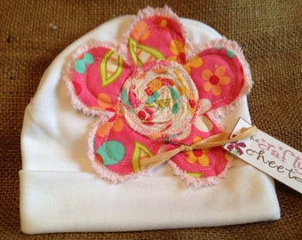 Infant Hat with Flower Applique