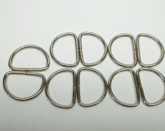10 X 1 inch metal d-rings,metal d-rings,DRings,non welded drings,nickel,AOO pack,sewing,purse making,crafting,costume making,
