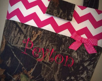 Mossy Oak Breakup Camo Pink Chevron Personalized Diaper Bag Tote 3 Size Choices